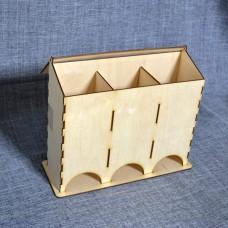 Чайный короб на три отделения с откидывающейся крышкой без оформления
