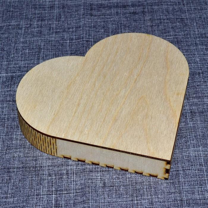 Шкатулка сердце из фанеры
